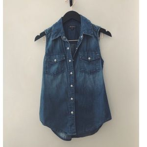 Level 99 denim sleeveless shirt size S.